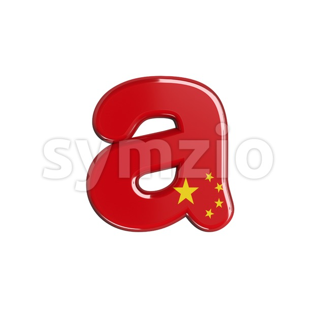 chinese flag font A - Lowercase 3d letter Stock Photo