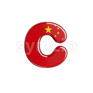 Small chinese flag font C - Lowercase 3d character Stock Photo