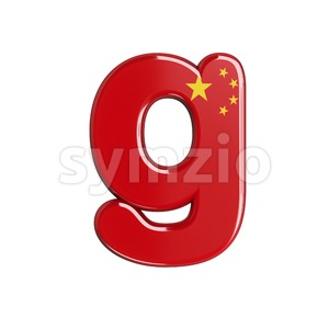 Lowercase chinese flag font G - Small 3d character Stock Photo