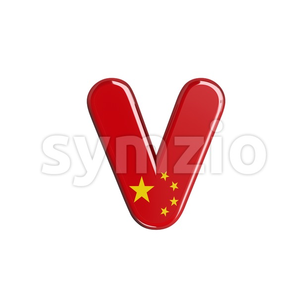 Lowercase chinese flag font V - Small 3d letter Stock Photo