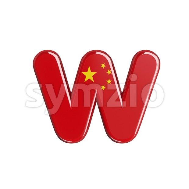 3d Lower-case letter W covered in China flag texture