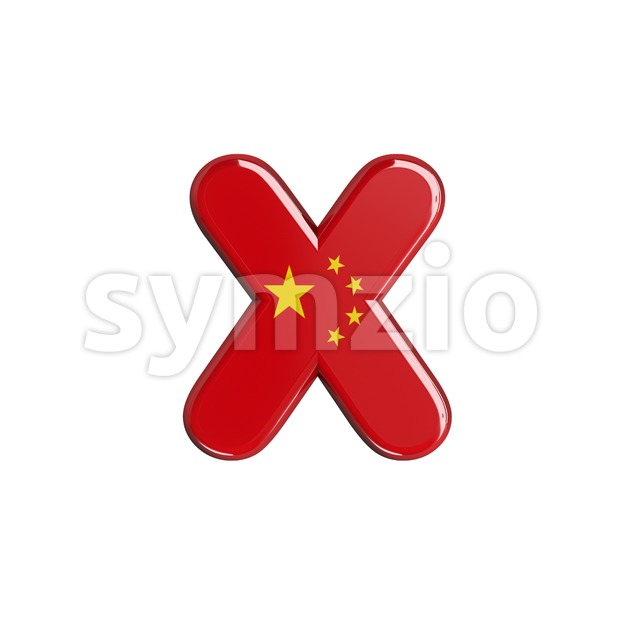 chinese flag 3d font X - Small 3d letter Stock Photo