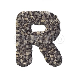 crushed rock letter R - Uppercase 3d font Stock Photo
