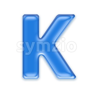 Uppercase blue jelly letter K - Capital 3d font Stock Photo