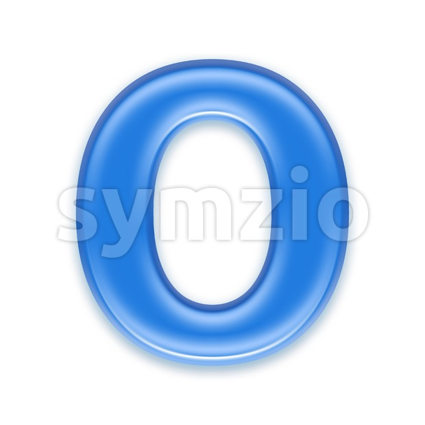 3d Upper-case letter O covered in blue jelly texture Stock Photo