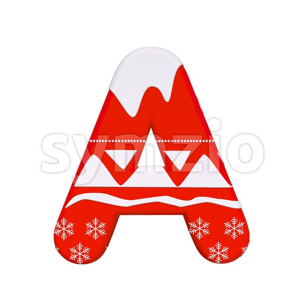 christmas letter A - Capital 3d character Stock Photo