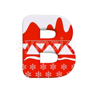 Capital santa letter B - Upper-case 3d font Stock Photo