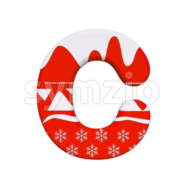 3d christmas font C - Capital 3d letter Stock Photo