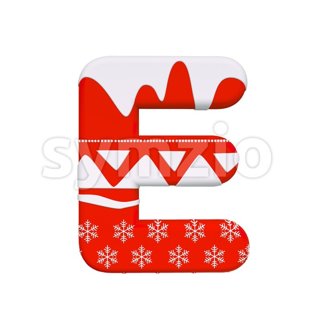 3d Capital character E covered in Red christmas texture Stock Photo