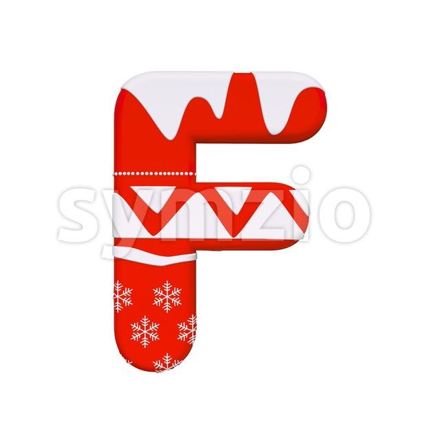 christmas letter F - Upper-case 3d font Stock Photo