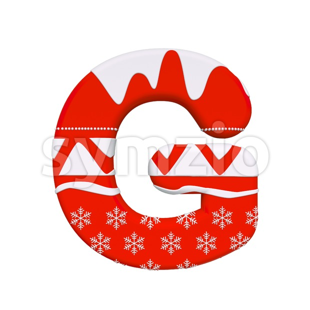 Upper-case christmas character G - Capital 3d font Stock Photo
