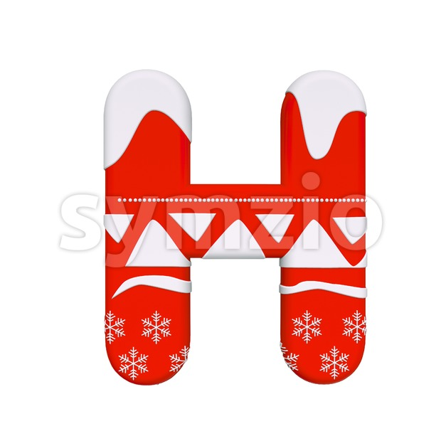 christmas 3d letter H - Upper-case 3d character Stock Photo