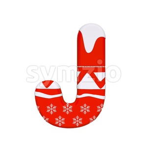 3d Uppercase font J covered in santa texture - Capital 3d character Stock Photo