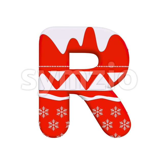 Red christmas letter R - Uppercase 3d font Stock Photo
