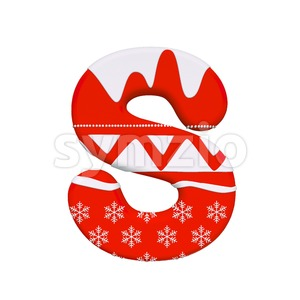 3d Uppercase font S covered in christmas texture Stock Photo