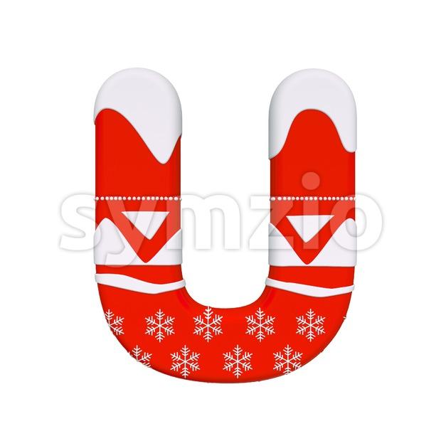 christmas 3d letter U - Capital 3d font Stock Photo