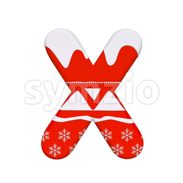 3d Upper-case character X covered in Red christmas texture Stock Photo
