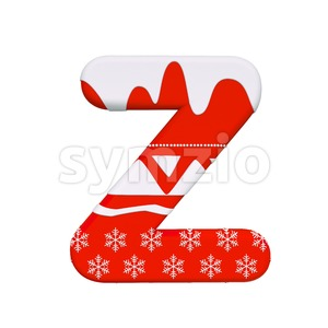 Red christmas letter Z - Upper-case 3d font Stock Photo