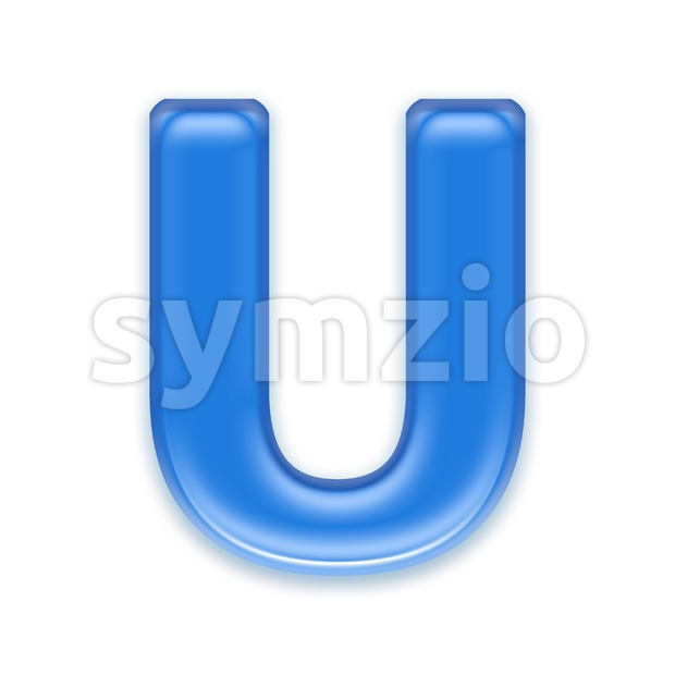 blue jelly 3d letter U - Capital 3d font Stock Photo