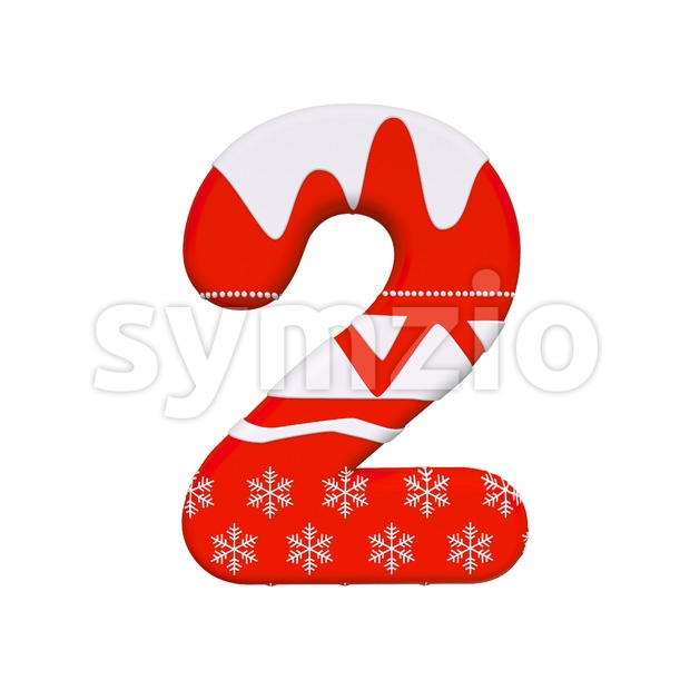 christmas digit 2 - 3d number Stock Photo