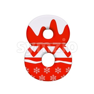 christmas digit 8 - 3d number Stock Photo