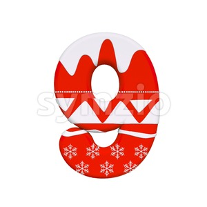 christmas number 9 - 3d digit Stock Photo