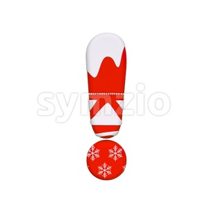 christmas exclamation point - 3d symbol Stock Photo