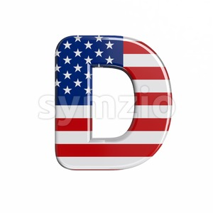 american flag font D - Capital 3d character Stock Photo