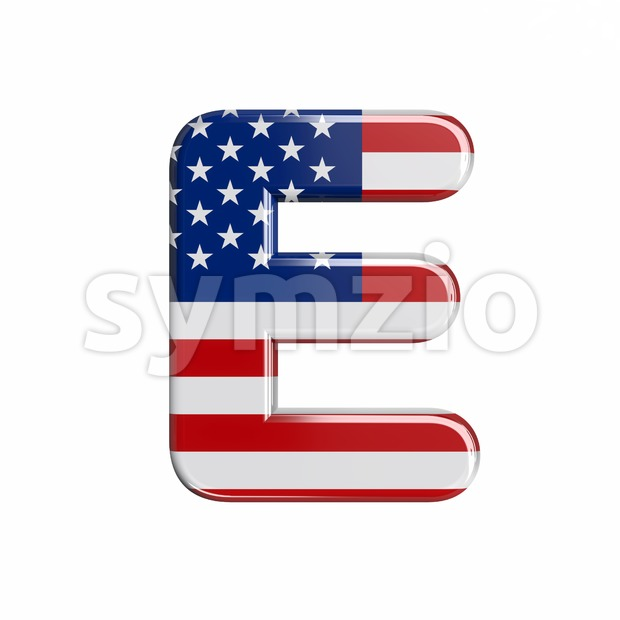 3d Capital character E covered in american flag texture