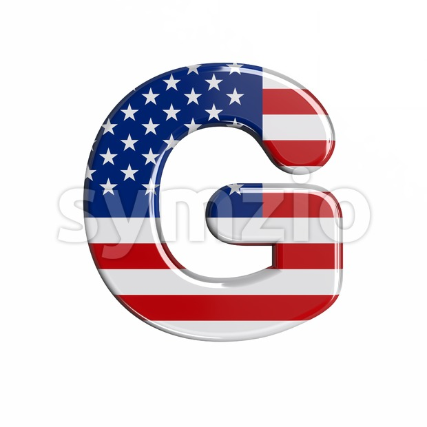 Upper-case USA character G - Capital 3d font Stock Photo
