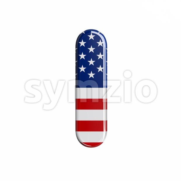 Uppercase american flag font I - Capital 3d letter Stock Photo
