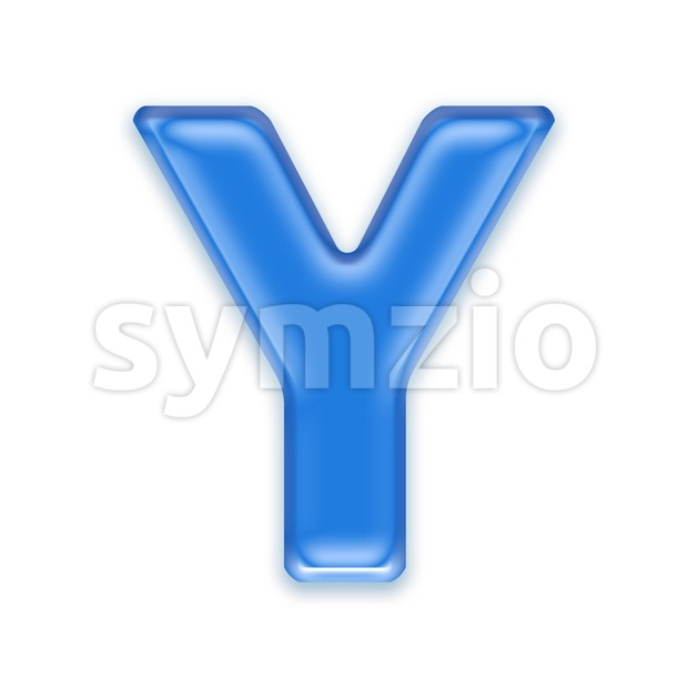 Upper-case blue jelly font Y - Capital 3d character Stock Photo