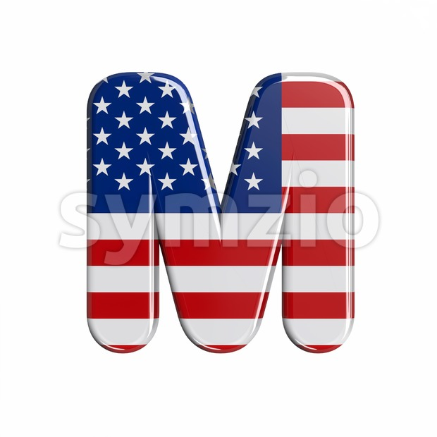3d Capital character M covered in american flag texture