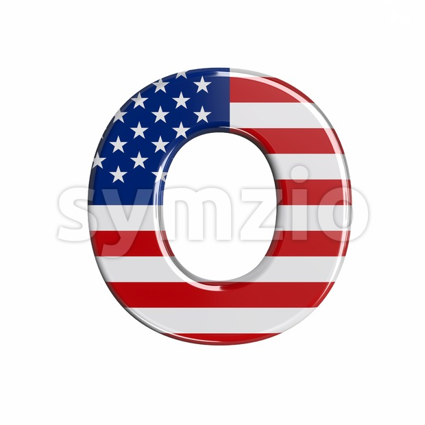 3d Upper-case letter O covered in USA texture
