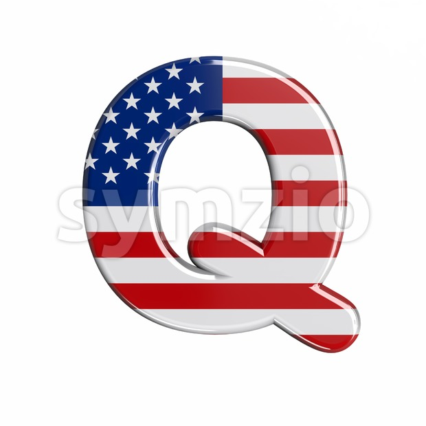 3d Upper-case font Q covered in american flag texture