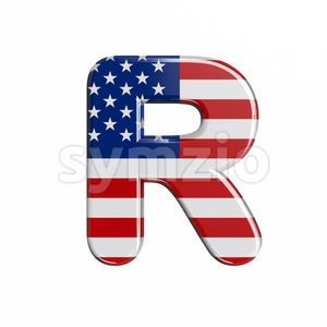 american flag letter R - Uppercase 3d font Stock Photo