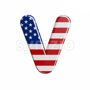 Capital USA letter V - Upper-case 3d character Stock Photo