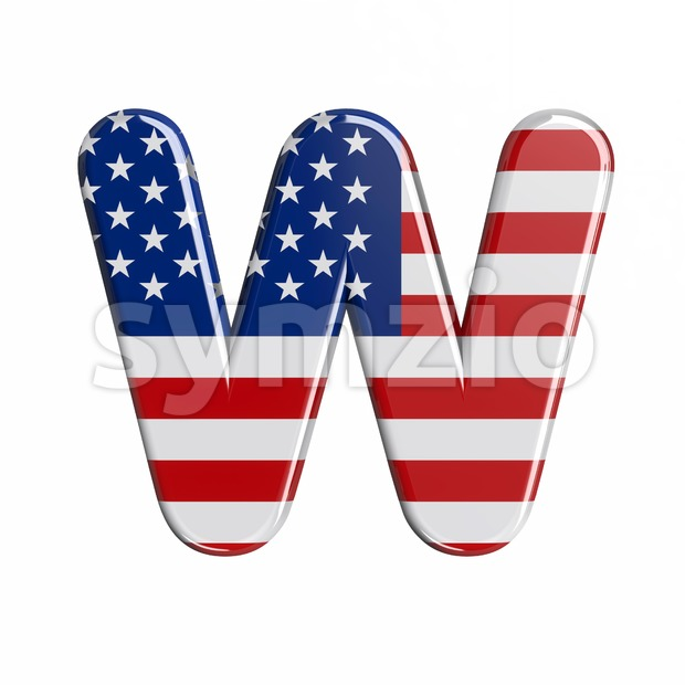 american font W - Capital 3d letter Stock Photo