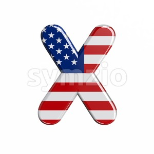 3d Upper-case character X covered in american flag texture Stock Photo