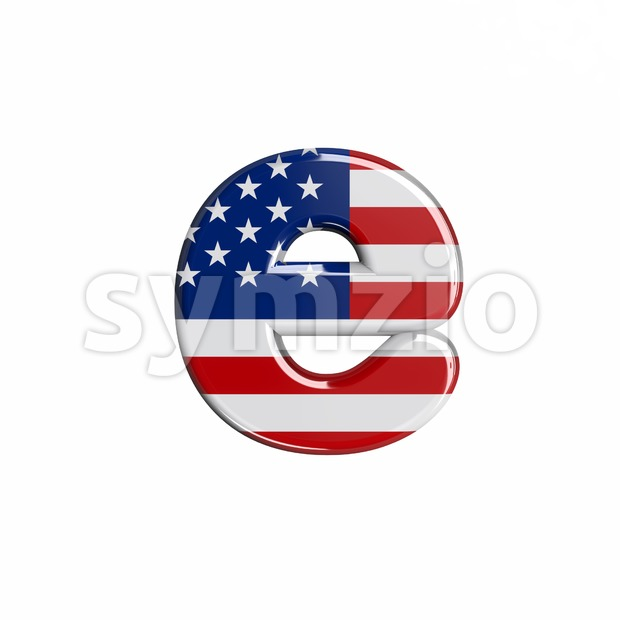 american flag 3d character E - Lower-case 3d letter Stock Photo