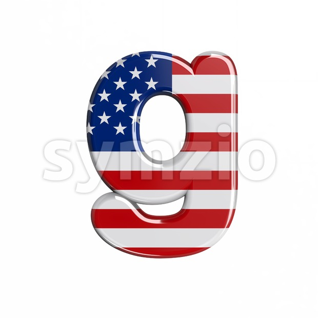 Lowercase USA font G - Small 3d character Stock Photo
