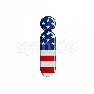 3d Small letter I covered in american flag texture Stock Photo