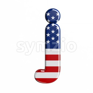 3d Lowercase character J covered in USA texture Stock Photo