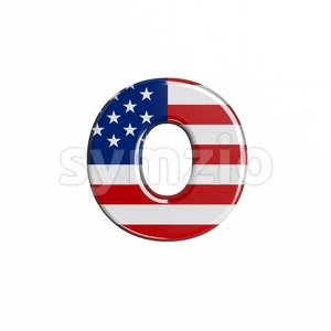 american flag font O - Small 3d letter Stock Photo
