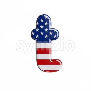 american flag letter T - Lower-case 3d font Stock Photo