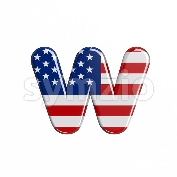 3d Lower-case letter W covered in USA  flag texture