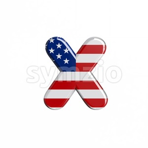USA 3d font X - Small 3d letter Stock Photo
