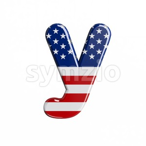 Lowercase american flag character Y - Small 3d letter Stock Photo