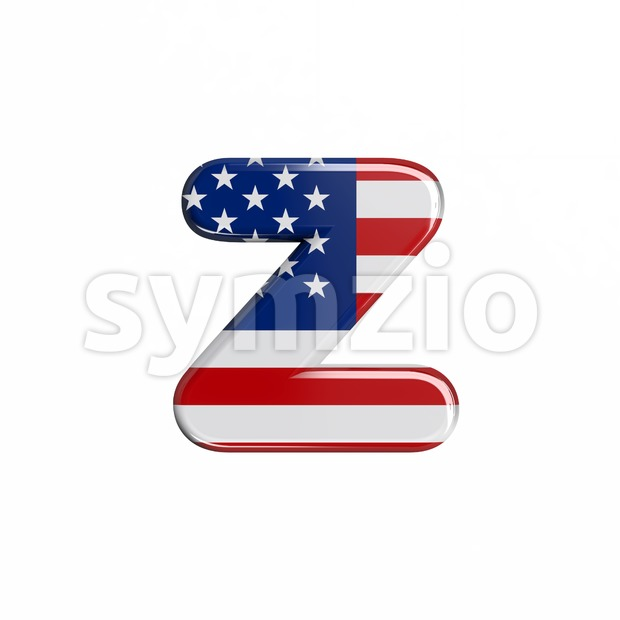 american flag 3d character Z - Lower-case 3d font Stock Photo