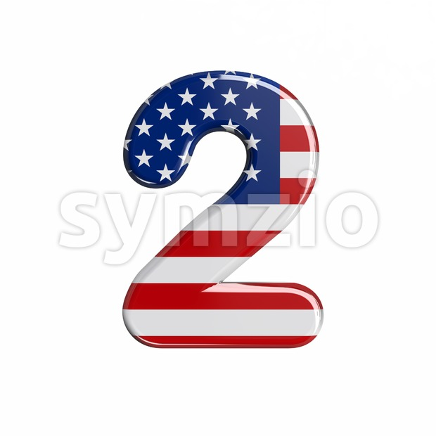 american digit 2 - 3d number Stock Photo